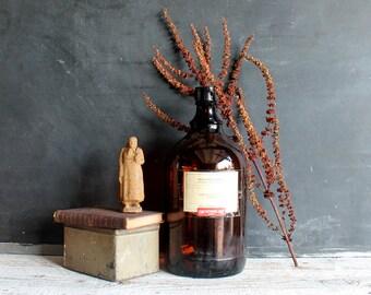 Large Antique Jug Vintage Amber Brown Apothecary Glass Bottle Graduate Hospital University of Pennsylvania Medicine Chemicals