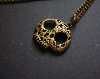 antique day of the dead candy skull necklace