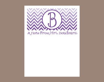 Chevron Notepad, Ombre notepad, teacher gift, personalized, stocking stuffer