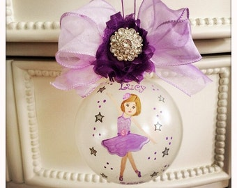 """PRIMA BALLERINA large 4"""" in purple/lavender hand painted glass ornament personalized"""