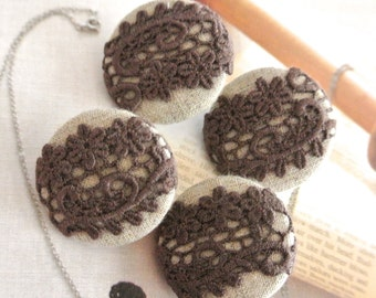 """Fabric Buttons, Retro Dark Brown Beige Floral Lace Fabric Covered Buttons, Wedding Fridge Magnets, Wedding Buttons, 1.2 """" 4's"""