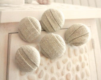 Fabric Covered Buttons,  Beige Origami Minimalist Plain Fabric Covered Buttons, Minimalist Zen Magnets, Flat Backs, 1 Inch 5's