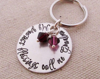 Grandma Key chain - Personalized Keychain - Hand stamped key ring - My Greatest Blessings