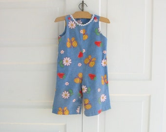 Vintage Child Girl Overalls Clothes Rompers Butterfly Blue Red Strawberries Retro
