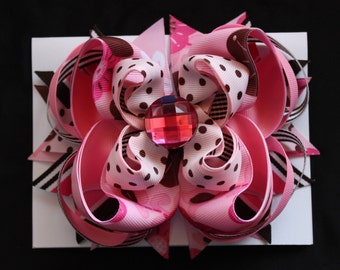 PINK and BROWN: Large -layered Boutique style hair bow barrette