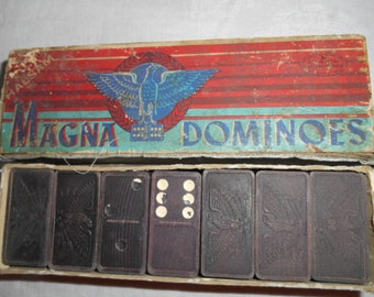 Old Box of  Halsam Magna Dominoes Eagle and Arrows on Dominoes No 225