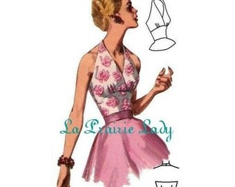 Repro of Vintage Pattern Halter Top 50s No 4 on Printable PDF Size B34