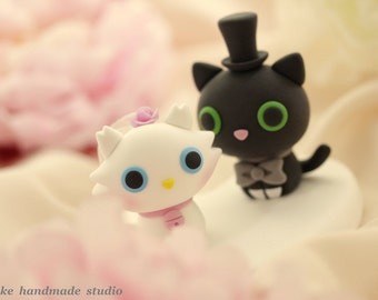 kitty and cat Wedding Cake Topper---k839