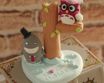 owl and shark with  tree Wedding Cake Topper----k536