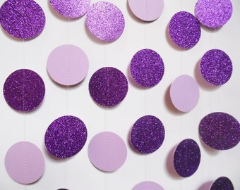 Purple Party Decorations, Paper Garland, Glitter Dot Garland, Violet, Lavender, Birthday Party Decoration