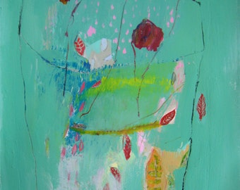 He Gave Flowers, Original mixed media painting on arches paper