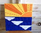 Waves at Sunset Fabric Art Piece