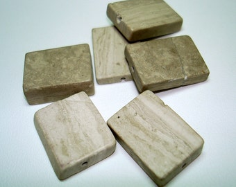 Grey Cream Marble Rectangle Stone Beads (Qty 6) - B2515