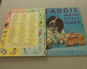"Vintage Little Golden Book Laddie and the Little Rabbit First ""A"" Edition"
