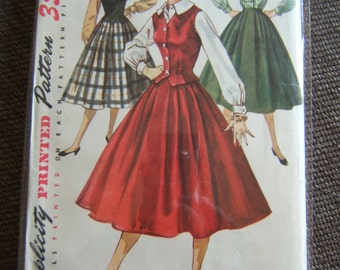 Simplicity Pattern - Full Skirt, Blouse and Vest - 1950's