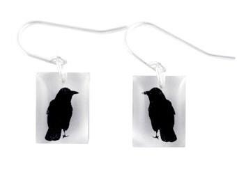 Acrylic Small Crow Earrings