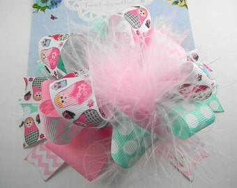 OTT  Babushka Bow Hair bow Over the Top Boutique Style pink aqua bow