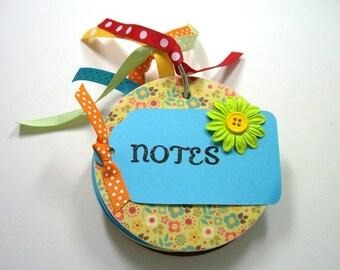 Yellow and Aqua Chipboard Notebook, Mini Notebook, Mini Journal, Round Notebook, Blank Pages, Notebook, Journal, Notes, Chipboard Notebook