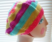 super soft beret of cotton and acrylic in tropical colors of summer