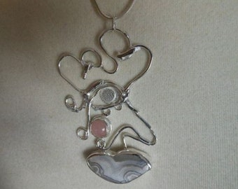 "Pink Cheeks, Aztec Warrior, Pink Peruvian Opal, Lace Agate, fused forged sterling Pendant on 20"" sterling snake chain"