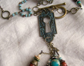 Beaded Gypsy Necklace Antique Escutcheon Necklace Antique Keyhole Vintage Turquoise Jewelry Southwest Turquoise Necklace Altered Necklace