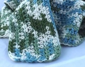 Kid Size Emerald Isle green cream and aqua snuggly 100 percent cotton crochet scarf