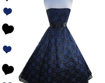Dress Vintage 80s 50s BLUE Lace Black Gunne Sax Prom Party Dress XXS XS Strapless Glam