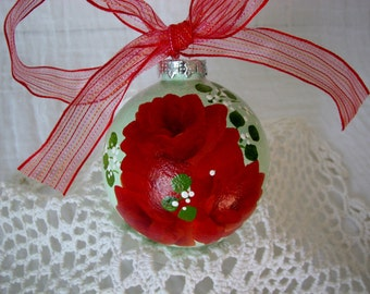Round Glass Ball Ornament Hand Painted Red Roses
