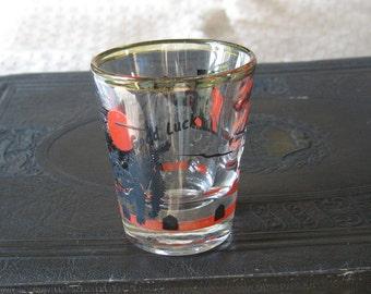 """Vintage """"Good Luck"""" Black Cat Shot Glass"""