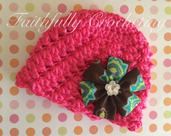 Newborn beanie.. Fabric flower haor clip... Bright pink beanie.. Photography prop.. Ready to ship