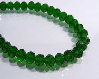 Green Faceted Rondelle Glass Beads....8 Beads.....8x6mm