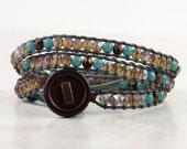 Teal Blue Wrap Bracelet Bronze Woodland Jewelry Fawn Brown Gypsy Wrap Bracelet Skinny Wrap Bracelet Boho Leather Jewelry Bohemian Jewelry