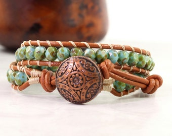 Boho Leather Bracelet for Women, Bohemian Jewelry, Green Wrap Bracelet, Rust, Copper Wrap Leather, Mothers Day Gift for Mom