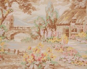 1930s Vintage Wallpaper Cottage Garden Flowers Bridge Scenic by the Yard