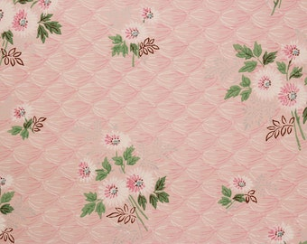1940s Vintage Wallpaper Pink Flower Bouquets on Quilted Pink by the Yard