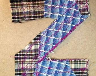 Fabric Letter  Z patch alphabet for use in your DIY project handmade shabby prim monogramprimitive supplies applique