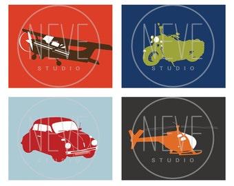 Transportation nursery, art for boys, set of 4, 13 x 19 Prints - customizable colors