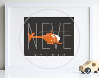 Boy room decor, helicopter art print 8 x 10 - different colors and sizes available