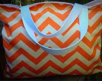 Orange chevron tote, orange chevron purse, chevron tote, chevron purse, chevron beach bag, beach tote, bag, purse, tote, bridesmaids totes