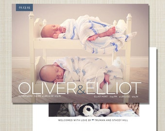 twin photo birth announcement - twins birth announcement - custom birth announcement baby announcement - twin love
