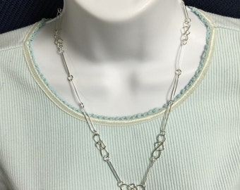 Handmade Argentium Silver Trapped Link Neckchain 21 1/2 Inches in Length