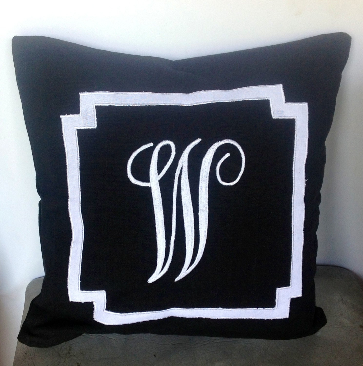 Monogrammed Throw Pillow Covers : Monogrammed black embroidered border pillow cover black throw