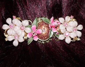 Vintage Rhinestone Enamel Flower Hair Clip Barrette OOAK