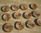 "Floral Wood Buttons - Pink Cottage Chic Button - Flower Print Wooden Button - 1"" - 12 Buttons"