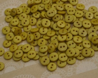 "Tiny Green Buttons - Bulk Sewing Button - 3/8"" - 55 Buttons - Split Pea - CHRISTMAS BUTTONS"