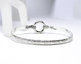Better Part of Valor 6 Textured Sterling Silver Slave Cuff with Sterling Silver Spring Gate O Clasp Made-to-Order