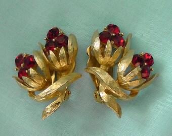 Vintage Red Crystal Earrings