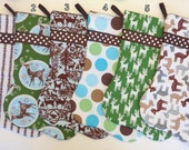 Design Your Own Set of Christmas Stockings in Brown, White, Blue and Green
