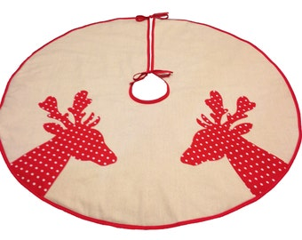 Tree Skirt on Natural Cotton with Red Polka Dot Deer