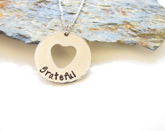 Grateful Heart Necklace - Pewter and Stainless Steel - Customizable